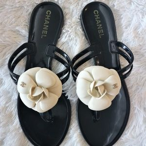 Authentic CHANEL Jelly Camellia Thong Sandals 38